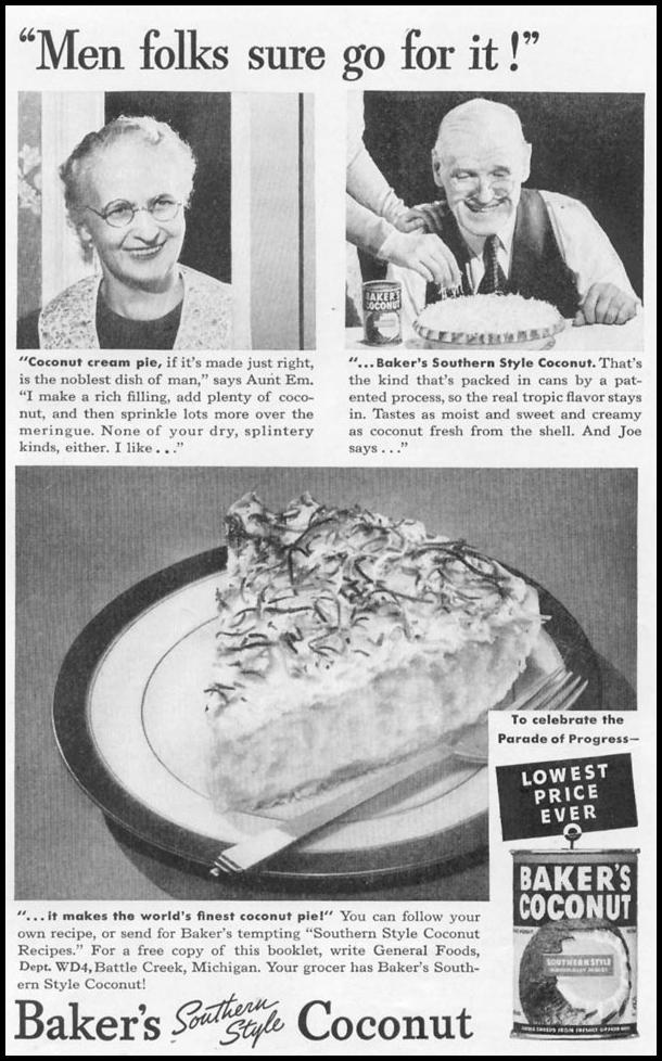 BAKER'S SOUTHERN STYLE COCONUT WOMAN'S DAY 04/01/1939 p. 39
