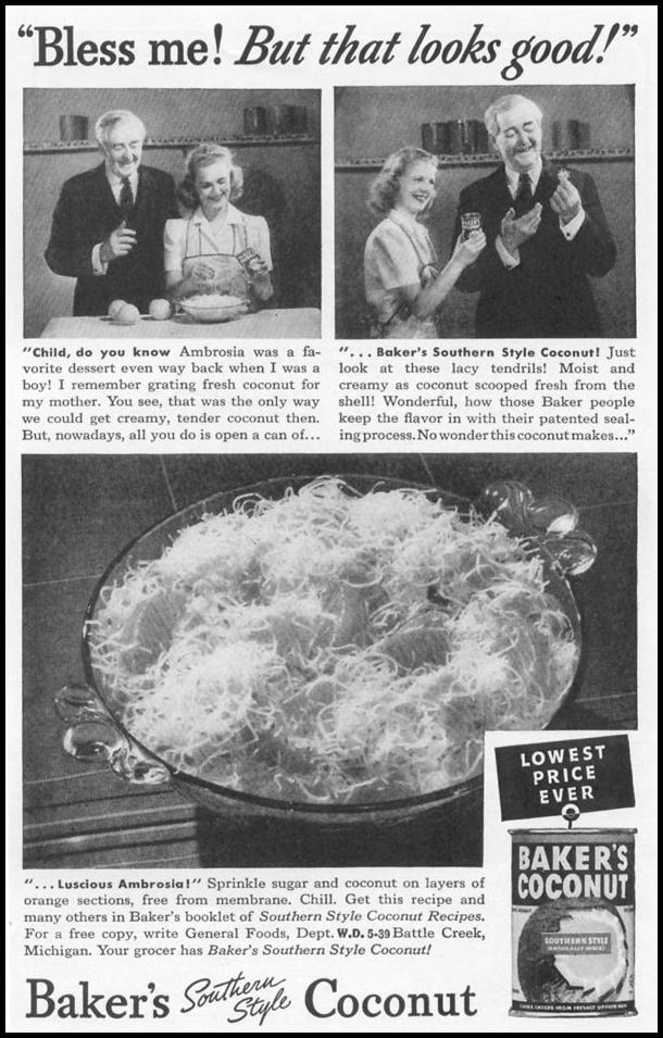 BAKER'S SOUTHERN STYLE COCONUT WOMAN'S DAY 05/01/1939 p. 45