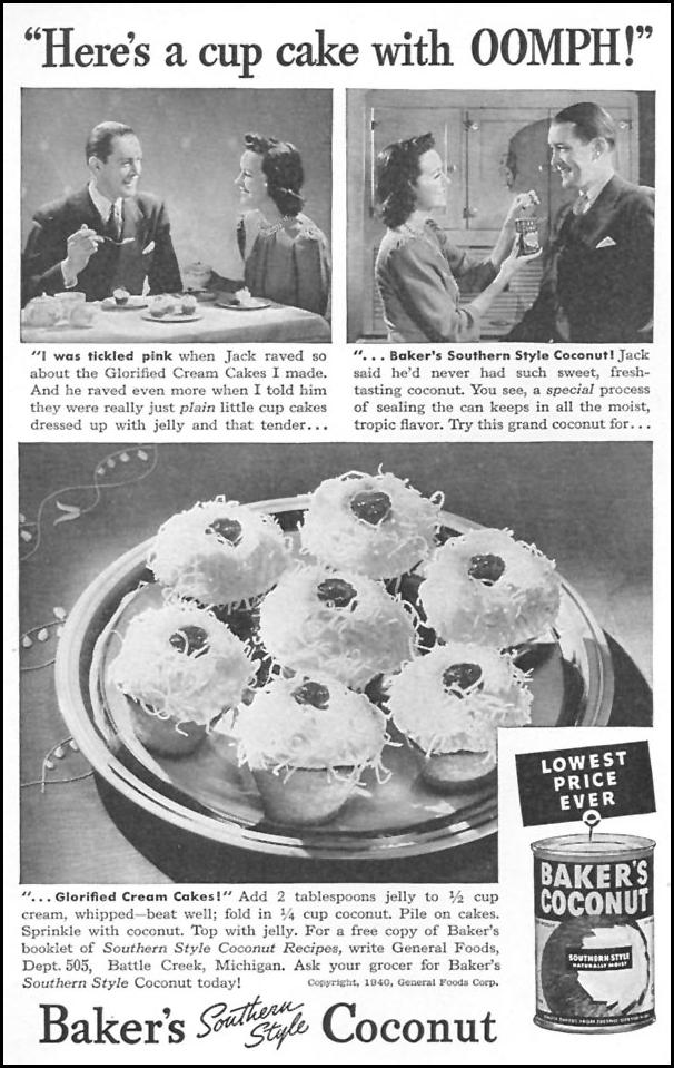 BAKER'S SOUTHERN STYLE COCONUT WOMAN'S DAY 05/01/1940 p. 44