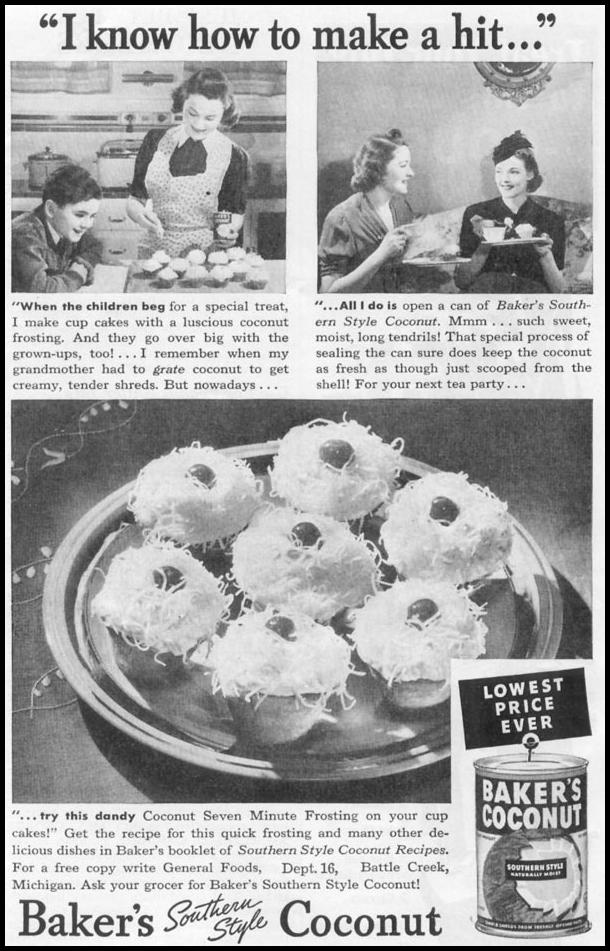 BAKER'S SOUTHERN STYLE COCONUT WOMAN'S DAY 06/01/1939 p. 43