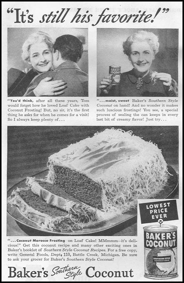 BAKER'S SOUTHERN STYLE COCONUT WOMAN'S DAY 10/01/1939 p. 40
