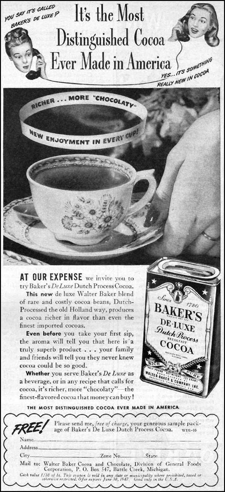 BAKER'S DU LUXE COCOA WOMAN'S DAY 01/01/1947 p. 51