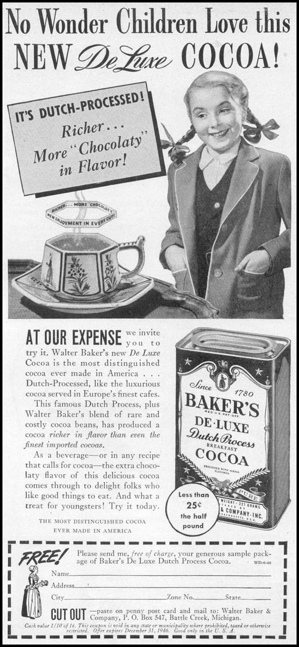 BAKER'S DE-LUXE DUTCH PROCESS BREAKFAST COCOA WOMAN'S DAY 06/01/1946 p. 65