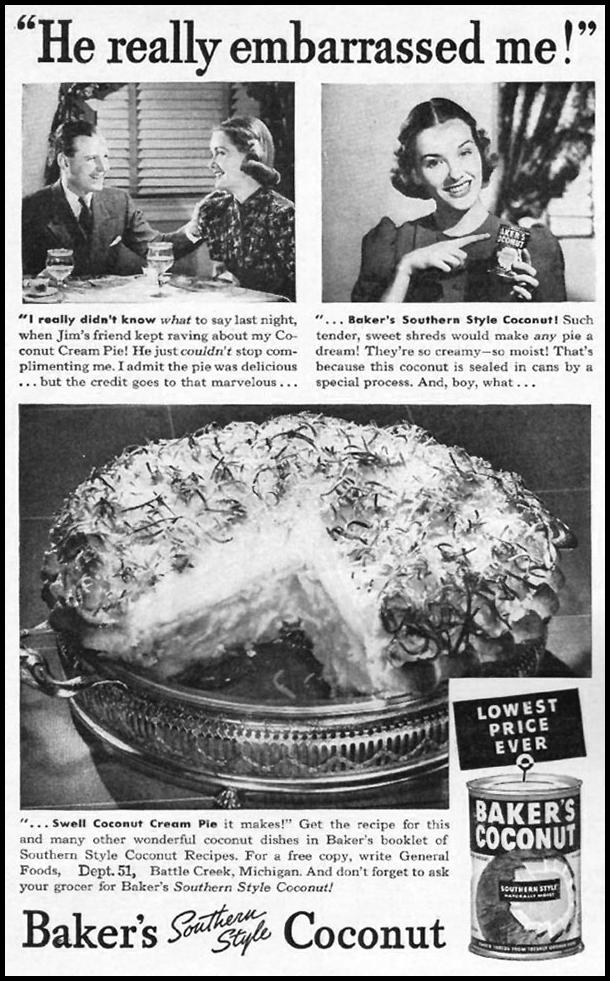 BAKER'S SOUTHERN STYLE COCONUT WOMAN'S DAY 01/01/1940 p. 40