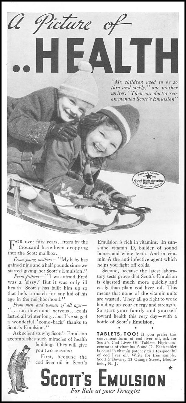 SCOTT'S COD LIVER OIL EMULSION GOOD HOUSEKEEPING 12/01/1934 p. 180