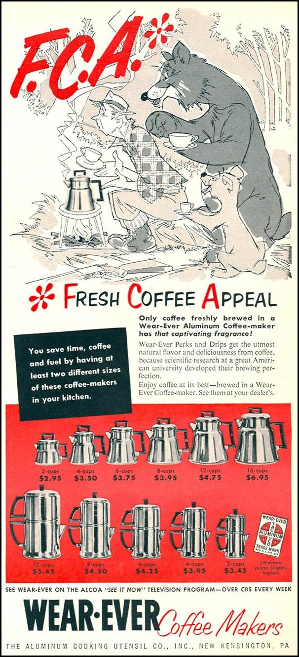 WEAR-EVER COFFEE MAKERS WOMAN'S DAY 02/01/1954 p. 105