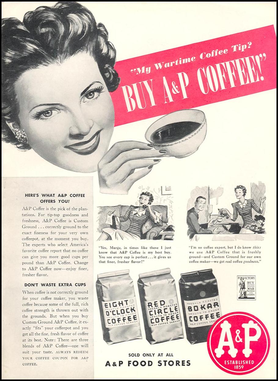 A & P COFFEE WOMAN'S DAY 04/01/1943 INSIDE BACK