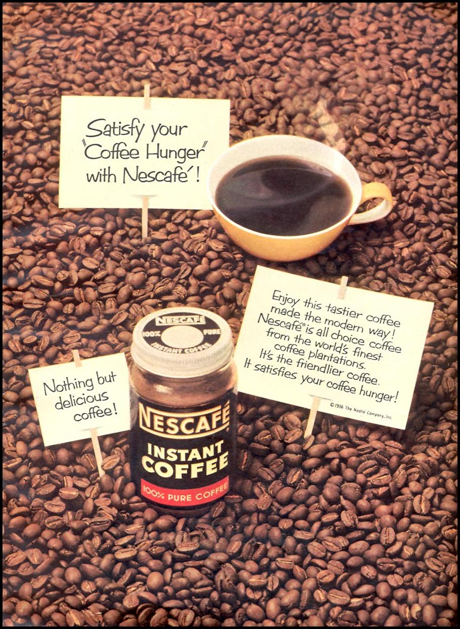 NESCAFE INSTANT COFFEE WOMAN'S DAY 04/01/1956 p. 49