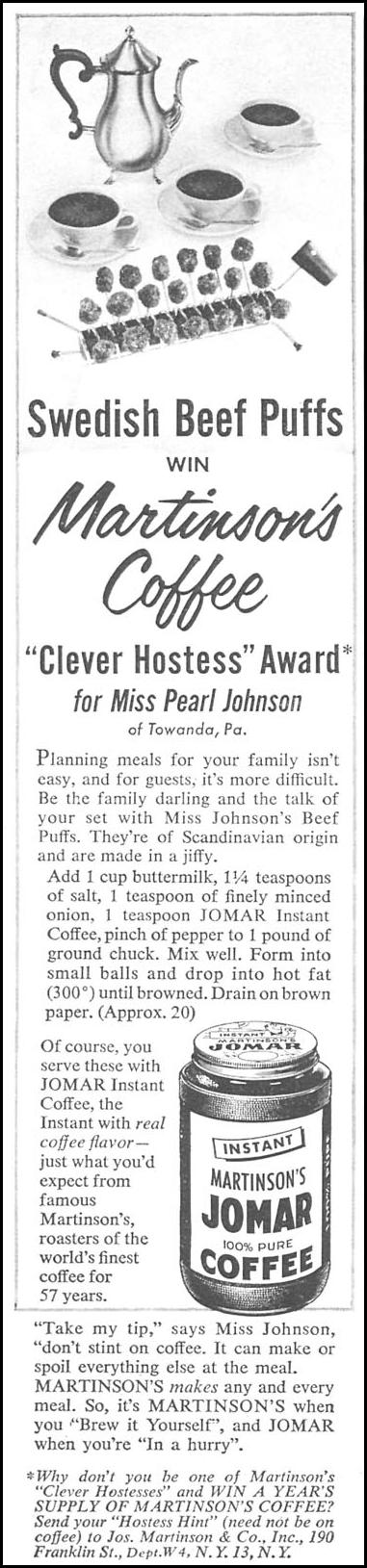 MARTINSON'S JOMAR COFFEE WOMAN'S DAY 04/01/1956 p. 116
