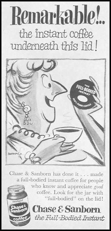 CHASE & SANBORN COFFEE WOMAN'S DAY 09/01/1955 p. 124