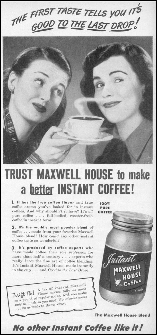 MAXWELL HOUSE COFFEE WOMAN'S DAY 05/01/1947 p. 97