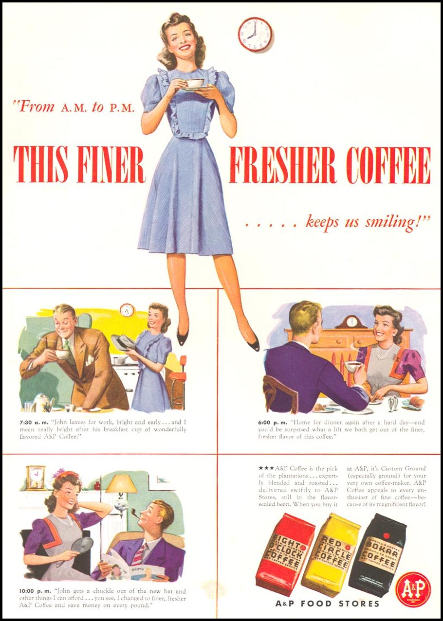 A & P COFFEE WOMAN'S DAY 09/01/1942 INSIDE BACK
