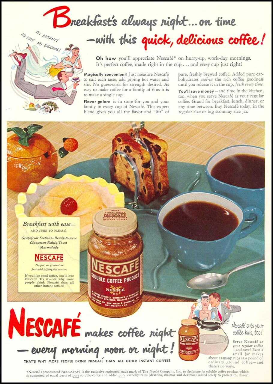 NESCAFE INSTANT COFFEE WOMAN'S DAY 10/01/1949 INSIDE FRONT
