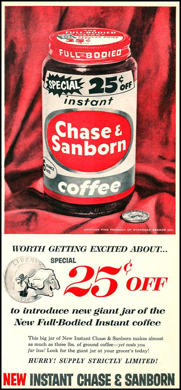 CHASE & SANBORN COFFEE WOMAN'S DAY 10/01/1956 p. 105