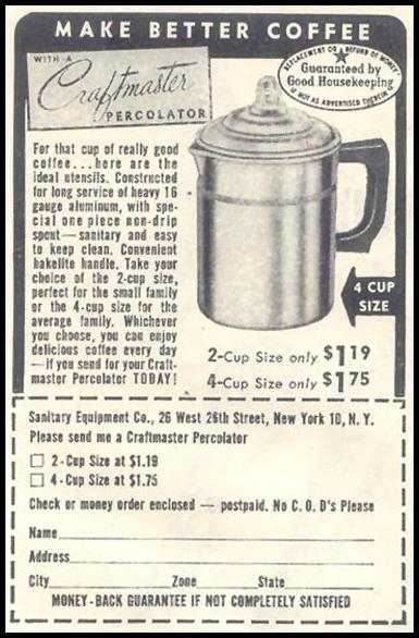 CRAFTMASTER COFFEE PERCOLATOR GOOD HOUSEKEEPING 07/01/1948 p. 120