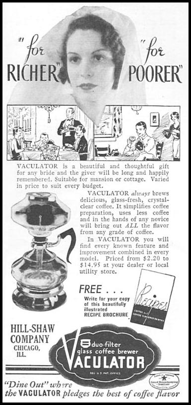 VACULATOR GLASS COFFEE BREWER GOOD HOUSEKEEPING 06/01/1935 p. 198
