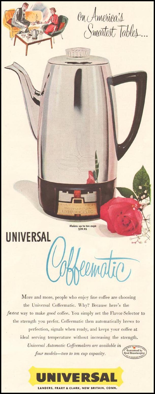 UNIVERSAL COFFEEMATIC COFFEE POT LADIES' HOME JOURNAL 03/01/1954 p. 105
