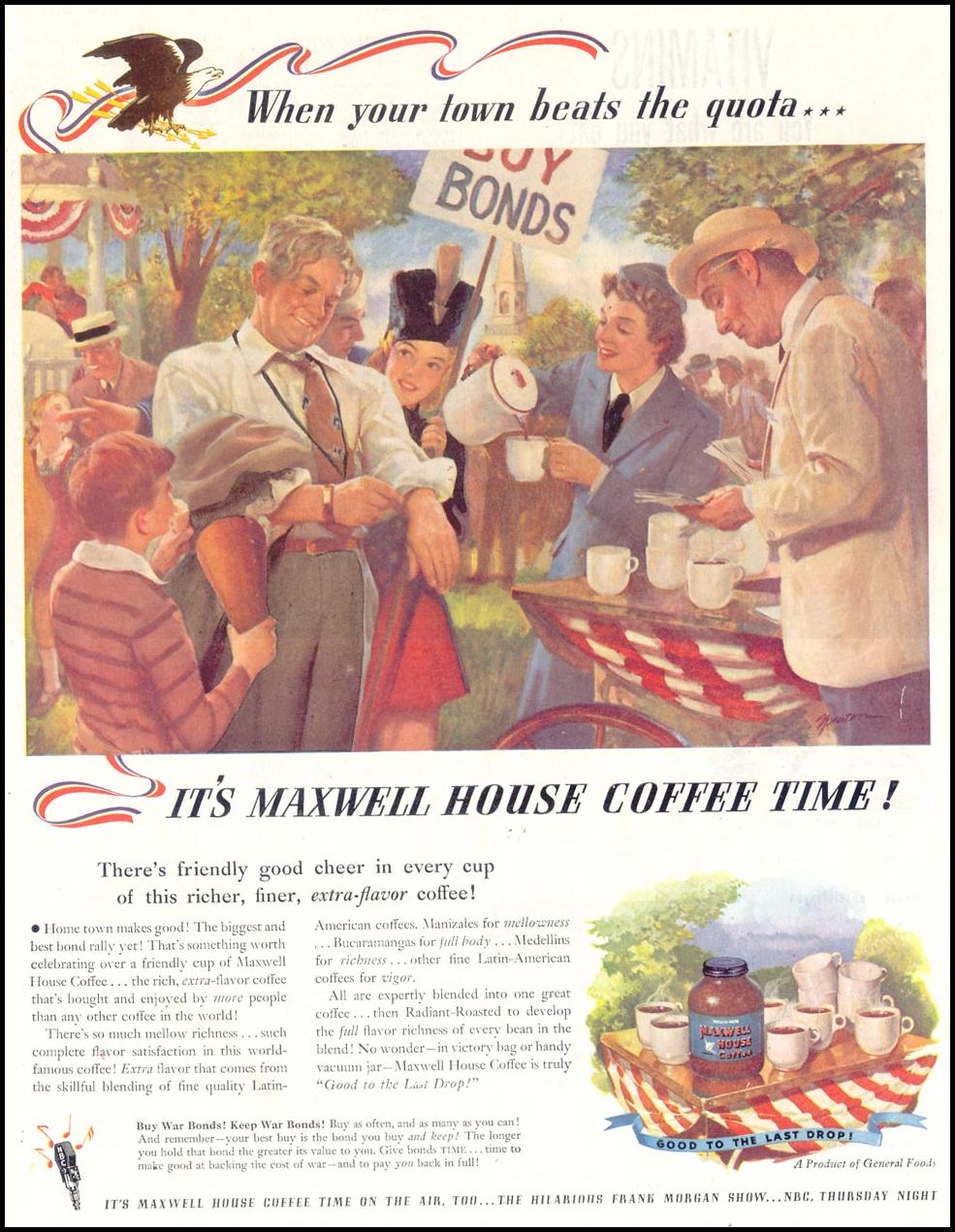 MAXWELL HOUSE COFFEE SATURDAY EVENING POST 05/19/1945 p. 33