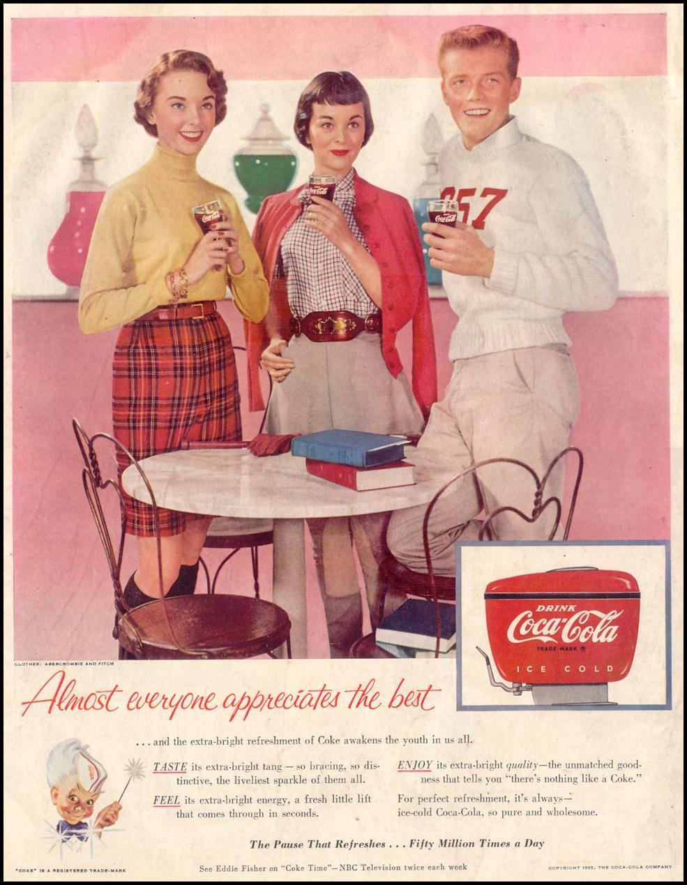 COCA-COLA SATURDAY EVENING POST 09/03/1955 BACK COVER