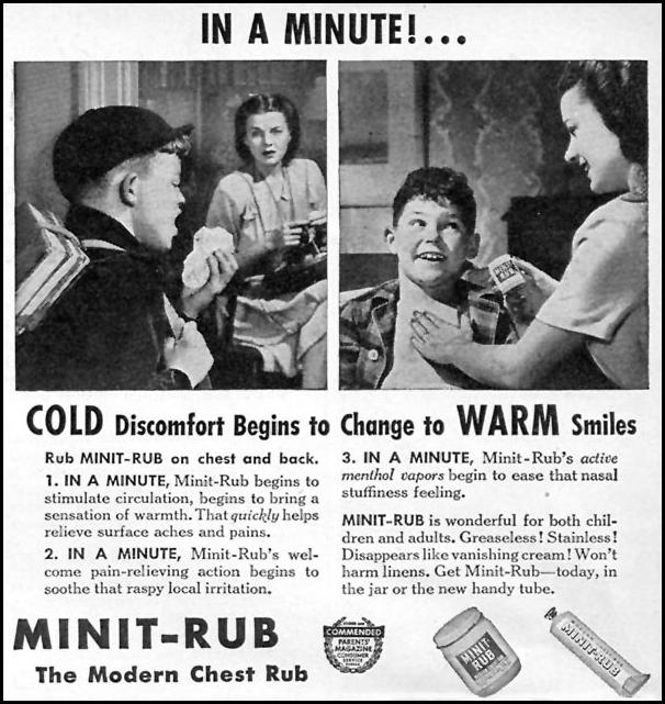 MINIT-RUB CHEST RUB WOMAN'S DAY 10/01/1946 p. 107