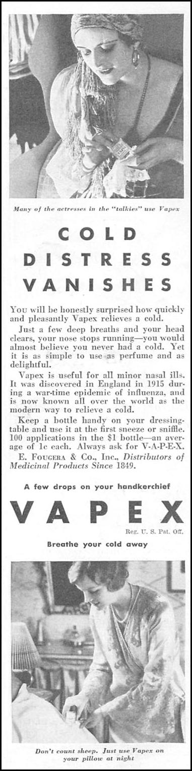 VAPEX COLD RELIEF GOOD HOUSEKEEPING 01/01/1932 p. 133