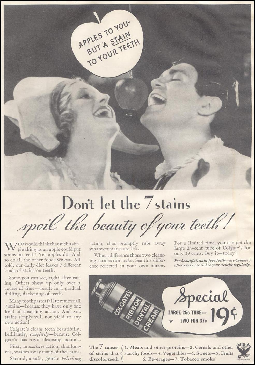 COLGATE DENTAL CREAM GOOD HOUSEKEEPING 11/01/1933 p. 7