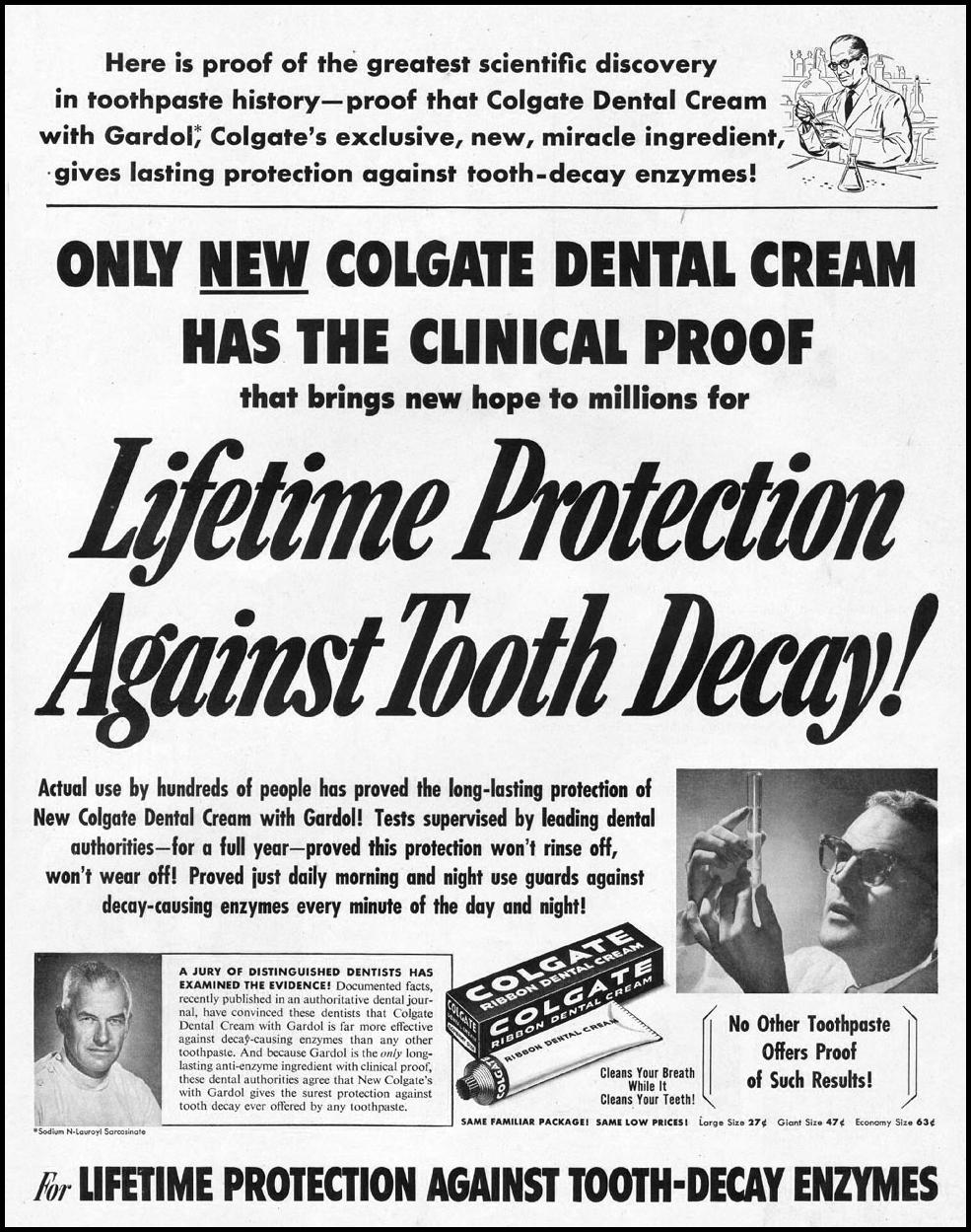 COLGATE DENTAL CREAM LADIES' HOME JOURNAL 03/01/1954 p. 157