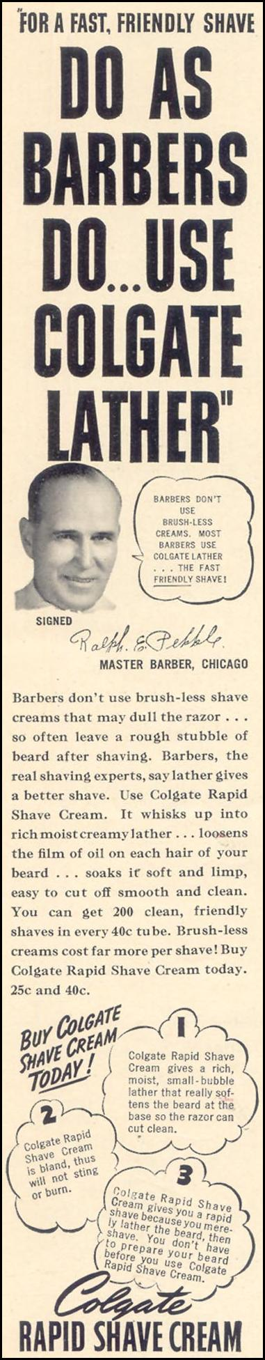 COLGATE RAPID SHAVE CREAM LIFE 10/17/1938 p. 64