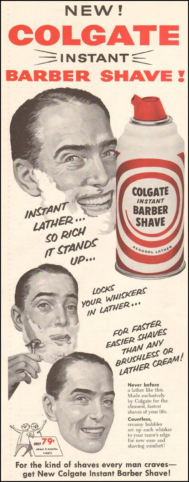 COLGATE INSTANT BARBER SHAVE SATURDAY EVENING POST 03/26/1955 p. 4