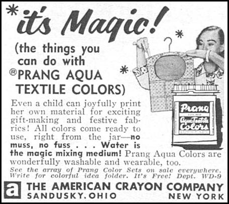 PRANG AQUA TEXTILE COLORS WOMAN'S DAY 04/01/1956 p. 109