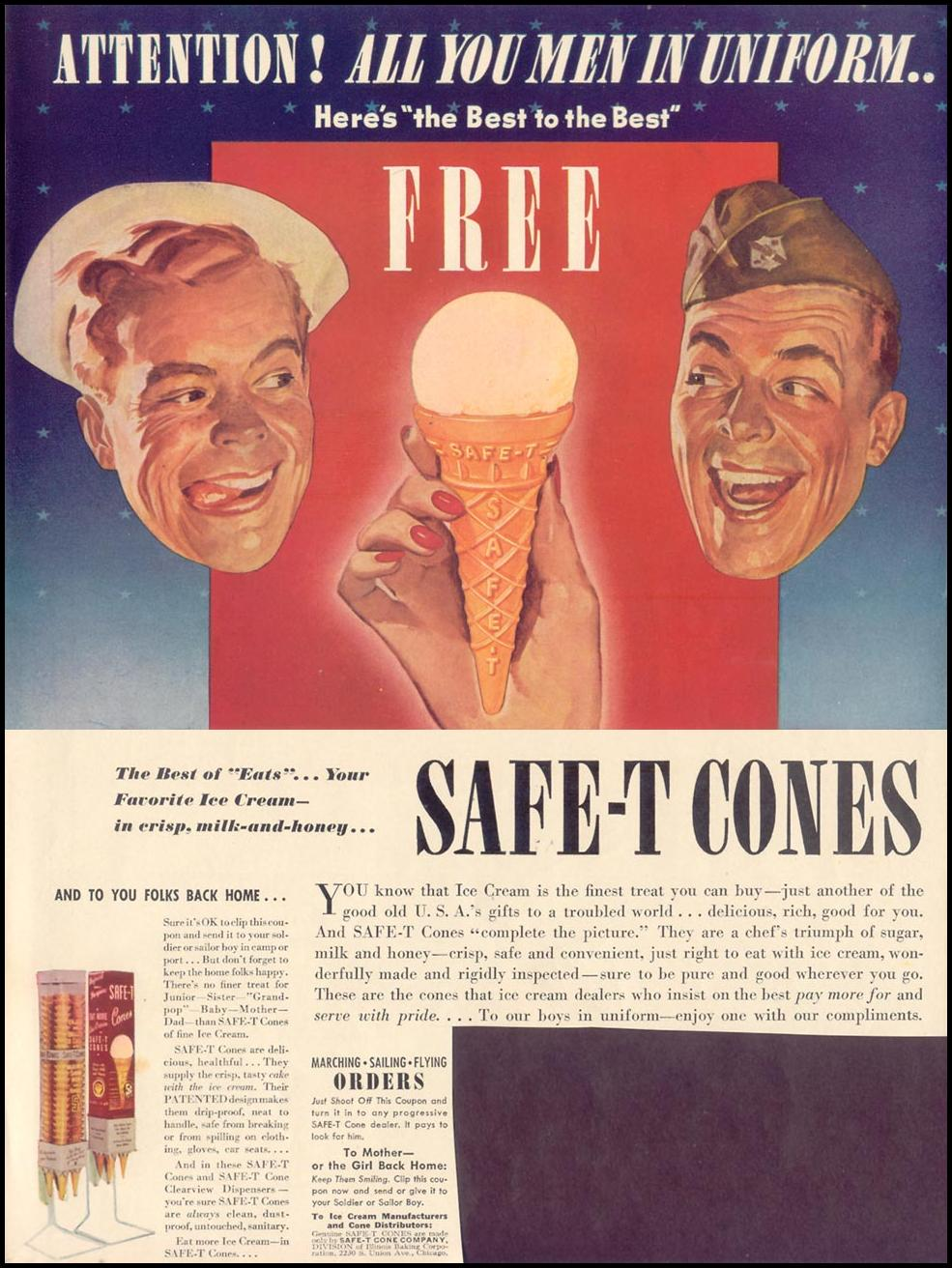 SAFE-T ICE CREAM CONES LIFE 06/01/1942