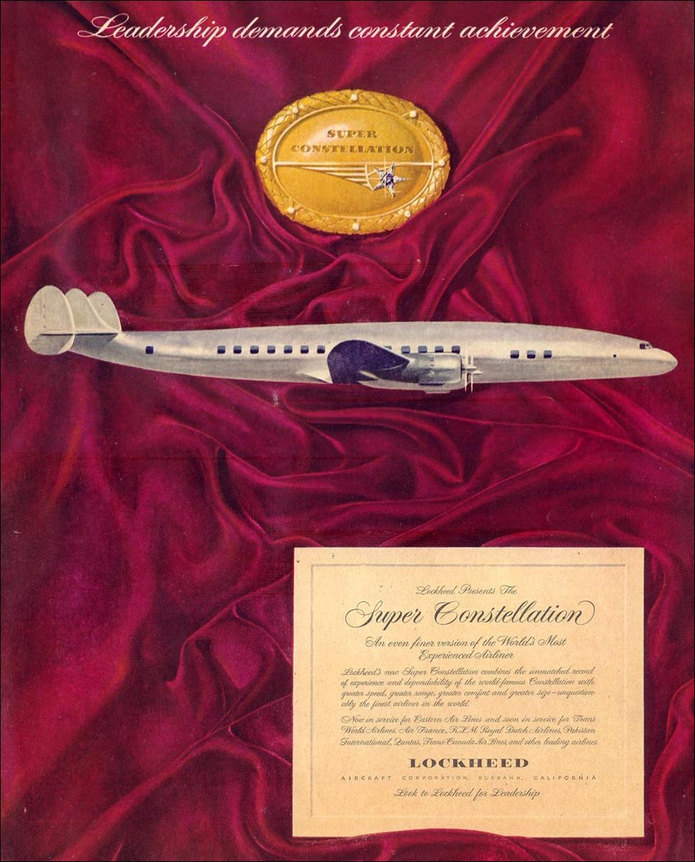 LOCKHEED SUPER CONSTELLATION AIRLINER LIFE 12/24/1951