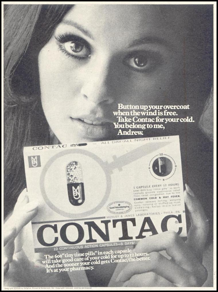 CONTAC COLD CAPSULES SATURDAY EVENING POST 01/25/1969 p. 68