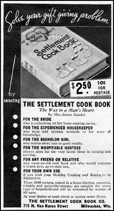 THE SETTLEMENT COOK BOOK GOOD HOUSEKEEPING 12/01/1935 p. 180