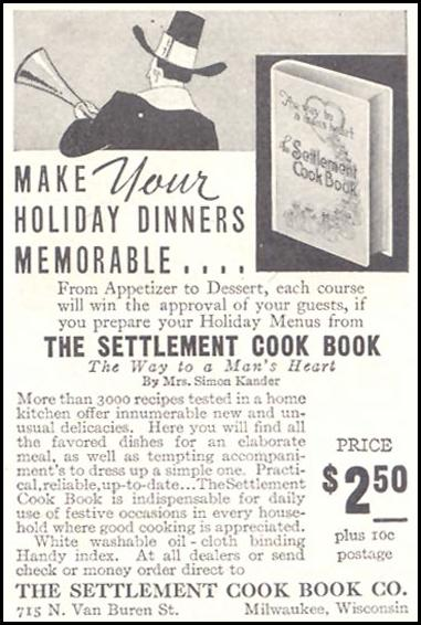 THE SETTLEMENT COOK BOOK GOOD HOUSEKEEPING 11/01/1933 p. 213
