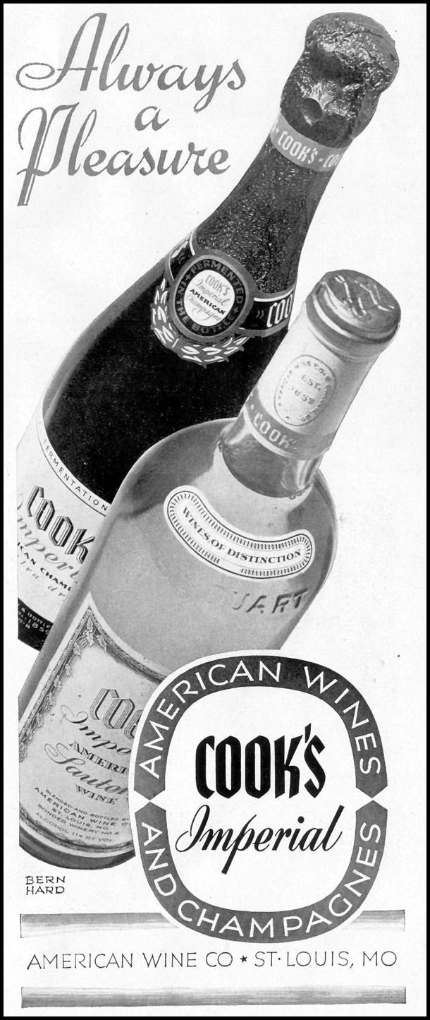 COOK'S IMPERIAL WINES AND CHAMPAGNES LIFE 11/08/1943 p. 107