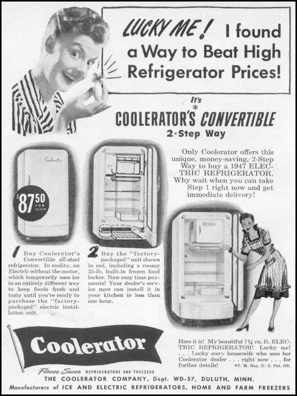 COOLERATOR CONVERTIBLE REFRIGERATOR-FREEZER WOMAN'S DAY 05/01/1947 p. 74