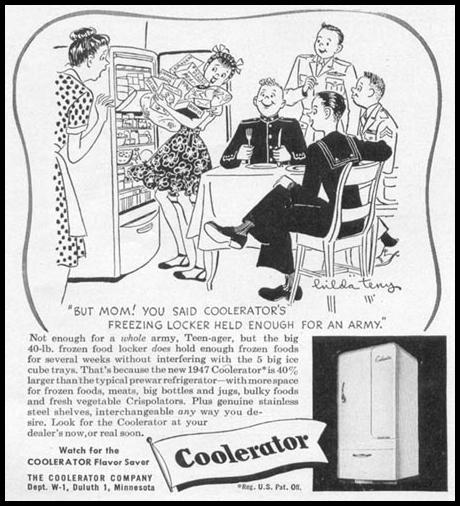 COOLERATOR REFRIGERATOR-FREEZER WOMAN'S DAY 06/01/1946 p. 66
