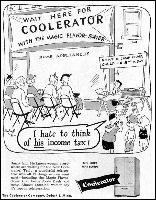 COOLERATOR REFRIGERATORS SATURDAY EVENING POST 10/06/1945 p. 75