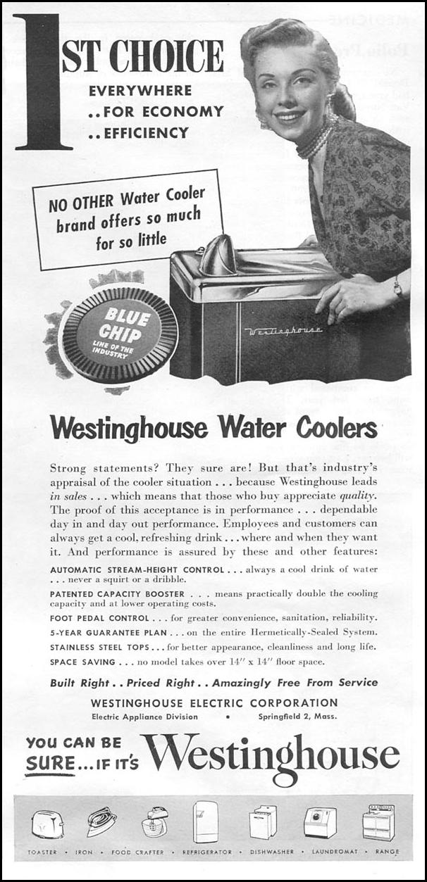 WESTINGHOUSE WATER COOLERS NEWSWEEK 08/20/1951 p. 51
