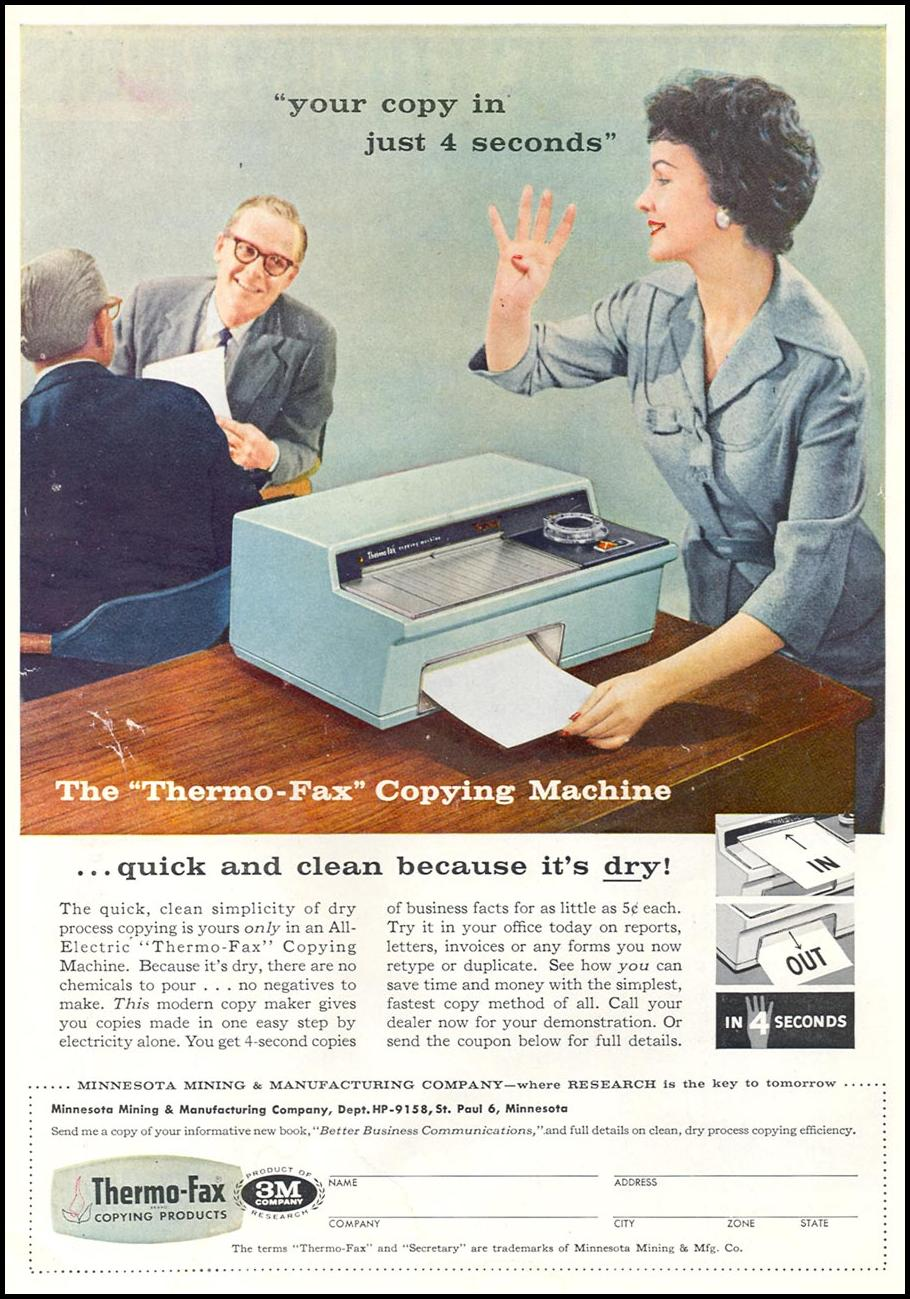 THERMO-FAX COPYING MACHINES TIME 09/15/1958 INSIDE BACK