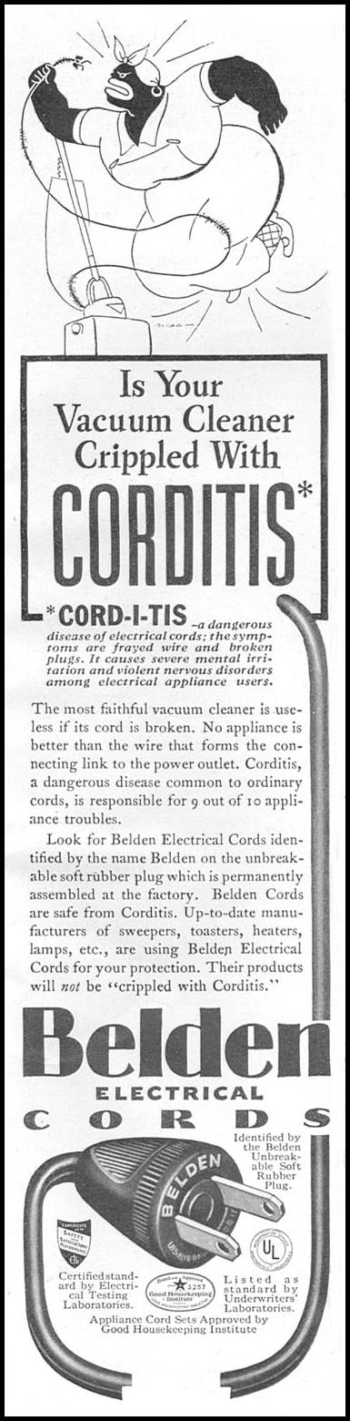 BELDEN ELECTRICAL CORDS GOOD HOUSEKEEPING 04/01/1936 p. 259