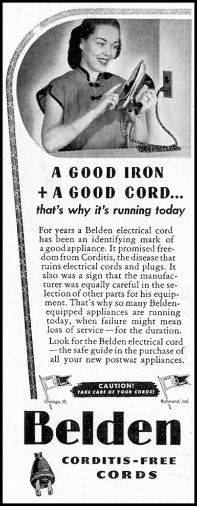 BELDEN ELECTRICAL CORDS SATURDAY EVENING POST 05/19/1945 p. 104
