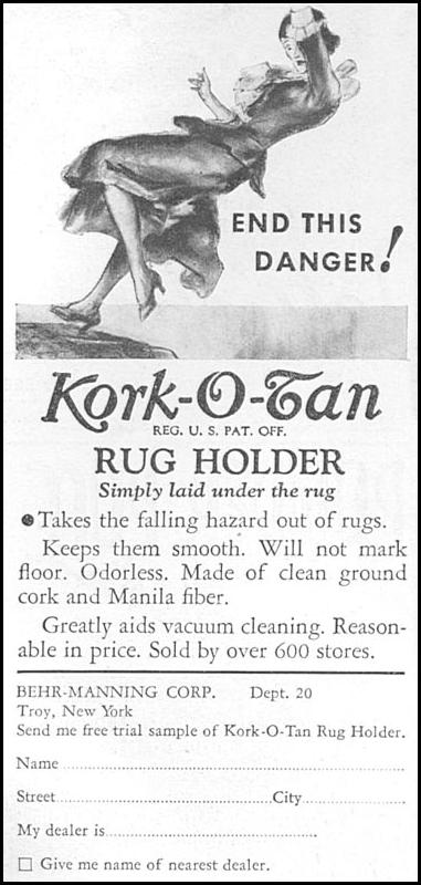 KORK-O-TAN RUG HOLDER GOOD HOUSEKEEPING 04/01/1936 p. 224