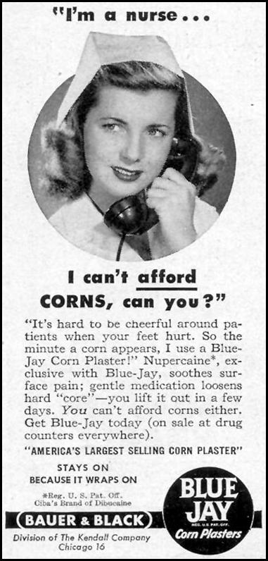 BLUE JAY CORN PLASTERS WOMAN'S DAY 03/01/1949 p. 123