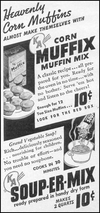 K. A. CORN MUFFIX MUFFIN MIX WOMAN'S DAY 04/01/1941 p. 68