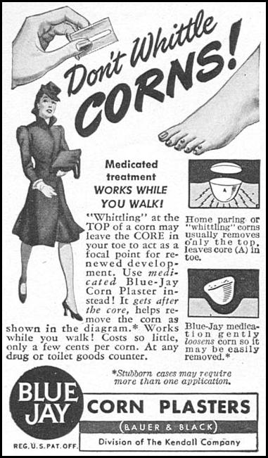 BLUE JAY CORN PLASTERS WOMAN'S DAY 04/01/1943 p. 74