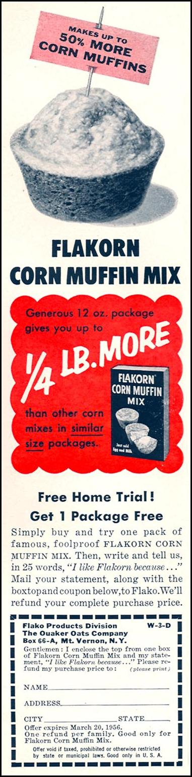 FLAKORN CORN MUFFIN MIX WOMAN'S DAY 04/01/1956 p. 82