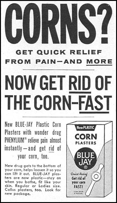 BLUE JAY CORN PLASTERS WOMAN'S DAY 04/01/1956 p. 110