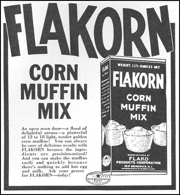 FLAKORN CORN MUFFIN MIX WOMAN'S DAY 05/01/1940 p. 58